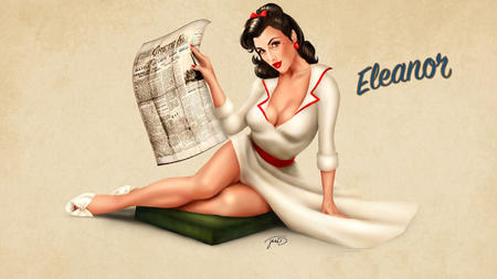 brunette cleavage desktop dress newspaper pinup // 1600x900 // 194.8KB