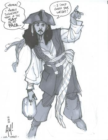 adam_hughes bw hat humor jack_sparrow pirate // 618x800 // 300.1KB