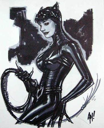 adam_hughes bw catwoman dc gloves goggles jumpsuit sketch whip // 526x648 // 45.6KB