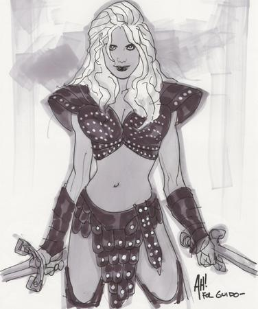 adam_hughes blonde pauldrons sketch sword // 668x800 // 338.1KB