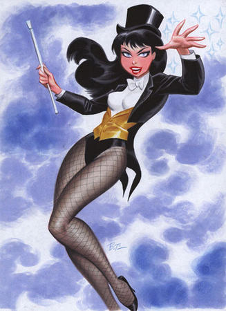 blue_eyes bowtie bruce_timm brunette dc fishnet hat high_heels tophat wand zatanna // 363x500 // 103.9KB
