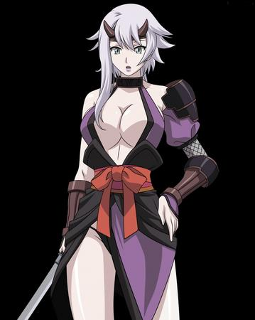 cleavage demon gray_hair green_eyes horns ninja oppai queens_blade sword // 797x1000 // 131.2KB