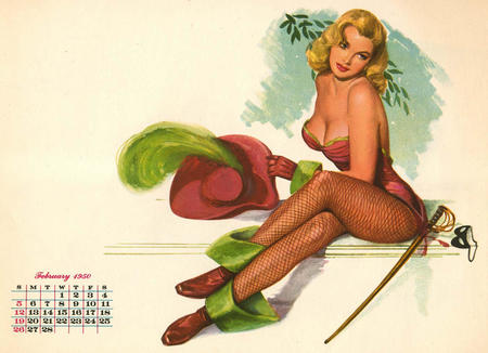 blonde calendar cleavage fishnet hat pinup sword // 1400x1013 // 191.8KB