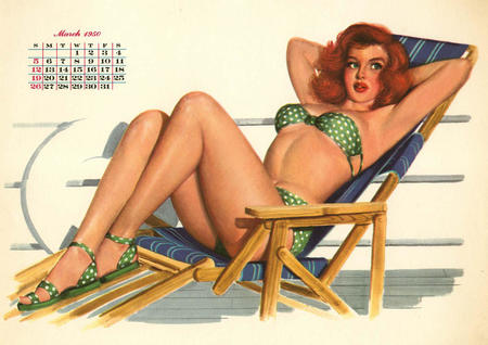 bikini calendar green_eyes pinup redhead sandals swimsuit // 1400x989 // 193.0KB