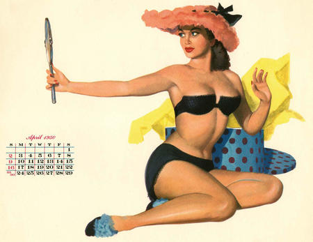 bare_shoulders brunette calendar cleavage hat pinup // 1200x926 // 119.6KB