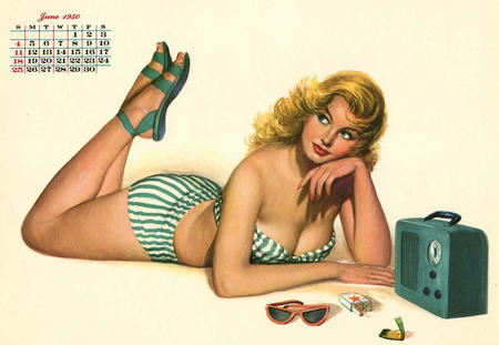 bare_shoulders bikini blonde blue_eyes calendar cleavage pinup radio sandals swimsuit // 1200x828 // 117.1KB