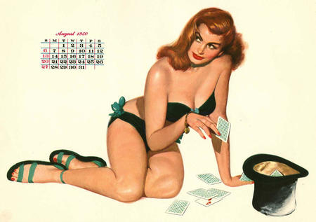 bare_shoulders calendar card cleavage pinup redhead sandals top_hat // 1200x846 // 101.7KB