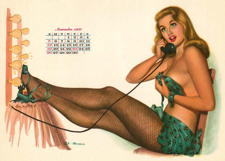 bare_shoulders calendar cleavage fishnet green_eyes high_heels phone pinup // 1200x858 // 159.5KB