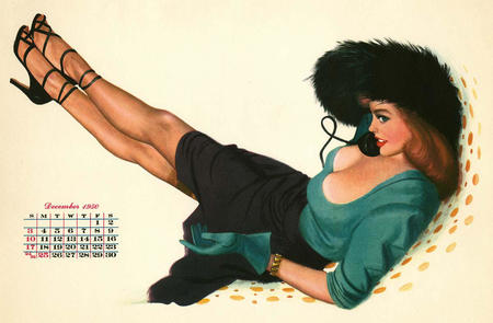 calendar cleavage gloves green_eyes hat high_heels phone pinup redhead skirt // 1200x787 // 108.1KB