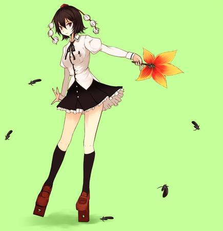 brunette fan feather skirt tohou // 1175x1216 // 102.9KB