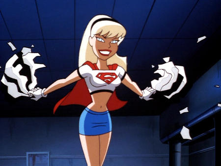 blonde blue_eyes bruce_timm cape dc gloves headband screenshot short_skirt skirt supergirl tee-shirt // 640x480 // 64.5KB
