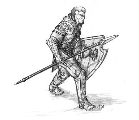 armor beard bw dnd sketch spear sword // 1289x1116 // 339.2KB