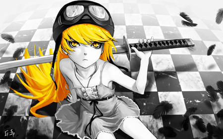 bakemonogatari blonde dress helmet shinobu sword // 2048x1280 // 693.1KB