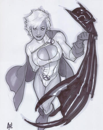 adam_hughes batman blonde boots bw cape dc gloves oppai power_girl // 547x688 // 119.0KB