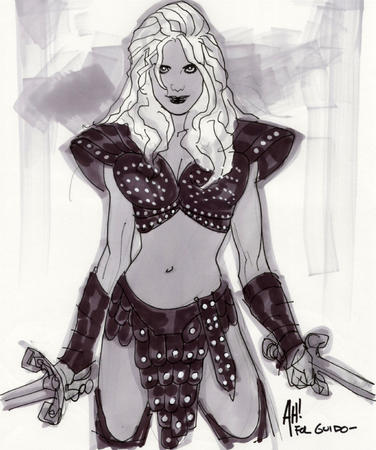 adam_hughes blonde bw sketch sword xena // 668x800 // 258.5KB