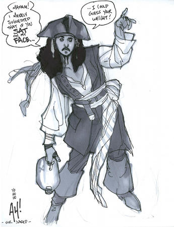 bw jack_sparrow pirate sketch // 611x796 // 215.7KB