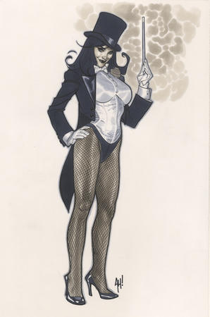 brunette dc fishnet gloves hat jacket top_hat wand zatanna // 573x864 // 318.2KB