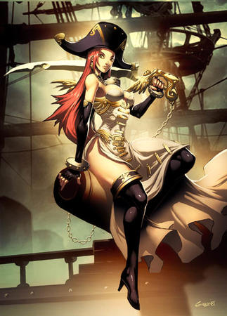 boots dress gloves hat high_heels long_hair pirate redhead sword thighhighs // 450x627 // 92.3KB