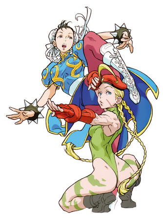 beret blonde blue_eyes boots braids brunette cammy chun-li gloves hat long_hair street_fighter // 3936x5309 // 3.3MB