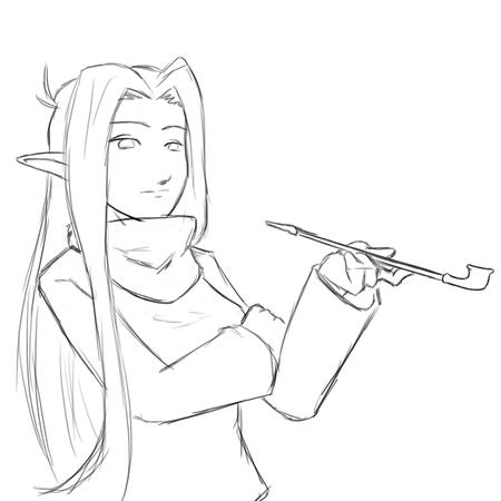 bw elf long_hair pipe sketch // 700x700 // 161.2KB