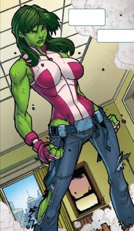gloves green_hair jeans marvel ripped_clothes she-hulk // 474x818 // 225.4KB