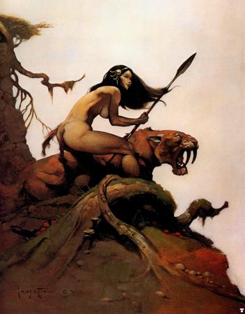 barbarian brunette loincloth sabretooth savage_pellucidar spear topless // 939x1200 // 294.7KB