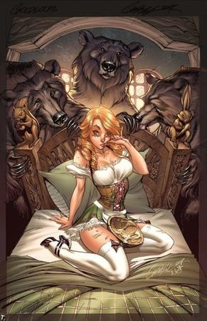 bears bed blonde dress goldilocks porridge scott_campbell thighhighs // 500x772 // 122.9KB