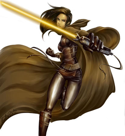 boots brunette cloak gloves jedi lightsaber star_wars // 975x1062 // 137.1KB