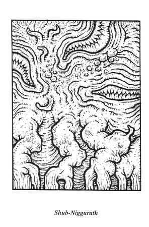 bw coloring_book lovecraft shub-niggurath // 1017x1548 // 295.4KB