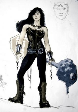 adam_hughes bare_shoulder brunette bw cleavage dc redesign wonder_woman // 570x813 // 82.6KB