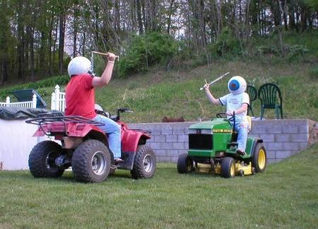 atv eyeball flail helmet humor joust lawnmover photo sword wat // 650x468 // 66.2KB
