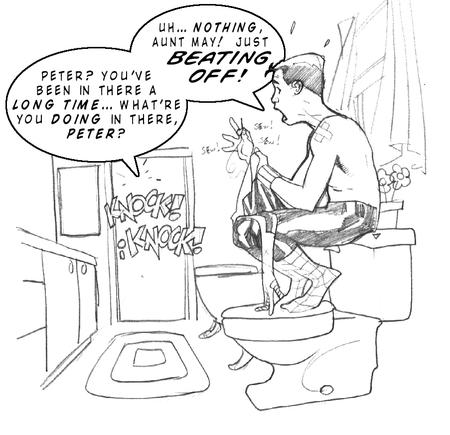 adam_hughes bathroom humor marvel spider-man toilet // 903x872 // 287.7KB