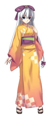 ar_tonelico blue_eyes grey_hair long_hair sandals yukata // 1568x3354 // 1002.7KB