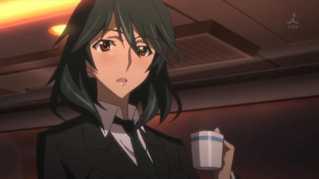 brown_eyes brunette coffee infinite_stratos necktie orimura_chifuyu screenshot suit // 1280x720 // 78.6KB