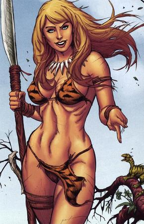 barbarian bikini biniki blonde blue_eyes cleavage jungle_girl spear // 574x890 // 112.5KB