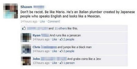 facebook humor internet mario nintendo racist screenshot // 508x258 // 35.2KB