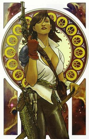 brunette cleavage gloves gun open_shirt sword // 718x1121 // 719.5KB