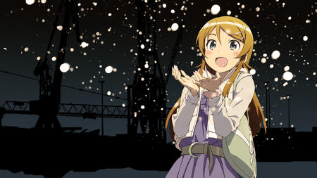 blonde blue_eyes desktop dress jacket kousaka_kirino ore_no_imouto_ga_konna_ni_kawaii_wake_ga_nai snow // 1920x1080 // 382.1KB