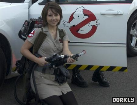 brunette cosplay dress ghost_busters photo proton_pack // 600x458 // 42.7KB