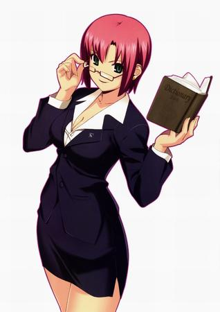 book glasses green_eyes redhead rio short_skirt skirt suit // 2100x2970 // 283.8KB