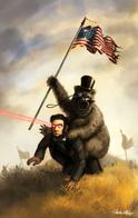 abraham_lincoln bear cavalry flag hat lasers monocle mustache top_hat // 600x952 // 118.0KB