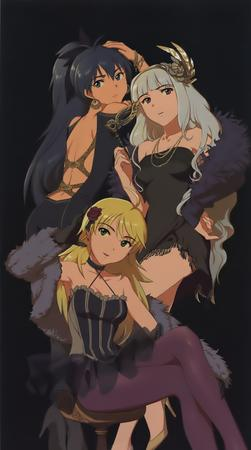 blonde blue_eyes boa brunette gloves gown gray_hair group high_heels long_hair tagme // 836x1500 // 171.3KB