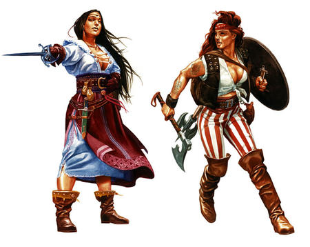 axe basket_hilt boots brunette cleavage dnd gloves long_hair long_skirt pirate rapier shield skirt sword // 700x557 // 119.0KB