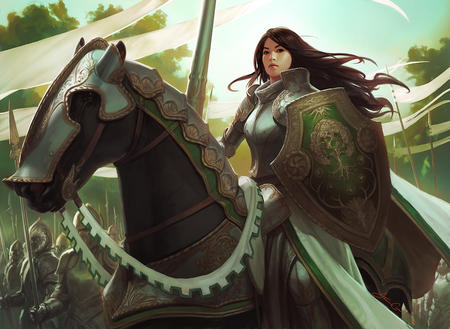 armor barding brunette horse lance long_hair shield // 1200x876 // 326.8KB