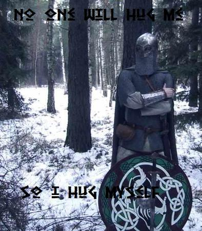 cape chainmail helmet humor macro photo shield snow sword // 500x571 // 62.4KB