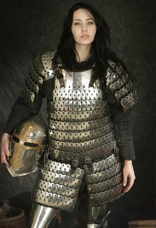 armor brunette helmet lamellar long_hair photo // 1369x1995 // 705.5KB