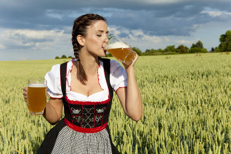 beer braids brunette cleavage dress photo // 5616x3744 // 5.8MB