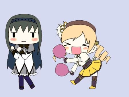 akemi animated blonde brunette dance dress puella_magi_madoka_magica tomoe_mami twintails // 400x300 // 334.7KB