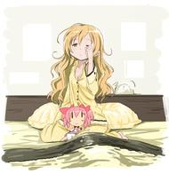barefoot bed blonde long_hair pajamas pillow puella_magi_madoka_magica tomoe_mami // 745x770 // 324.2KB