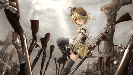 blonde boots dress gloves hat puella_magi_madoka_magica rifle thighhighs tomoe_mami twintails // 1920x1080 // 1.1MB